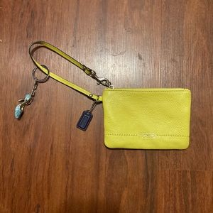 Coach yellow wristlet
